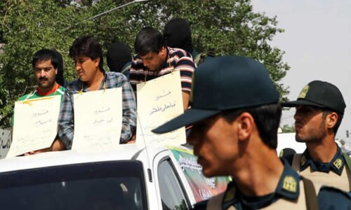 Men paraded in the streets to humiliate in public