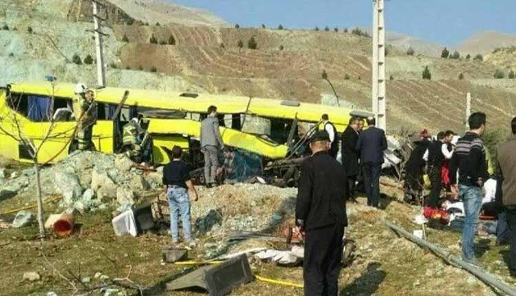 bus crash on university campus in Iran