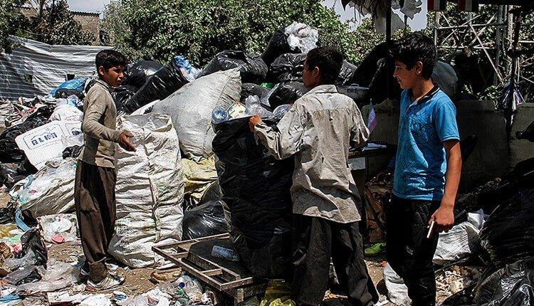 Child labor in Iran where they scavenge through dirt